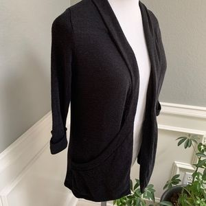 Silence + Noise Textured Open Cardi w Wide Pockets